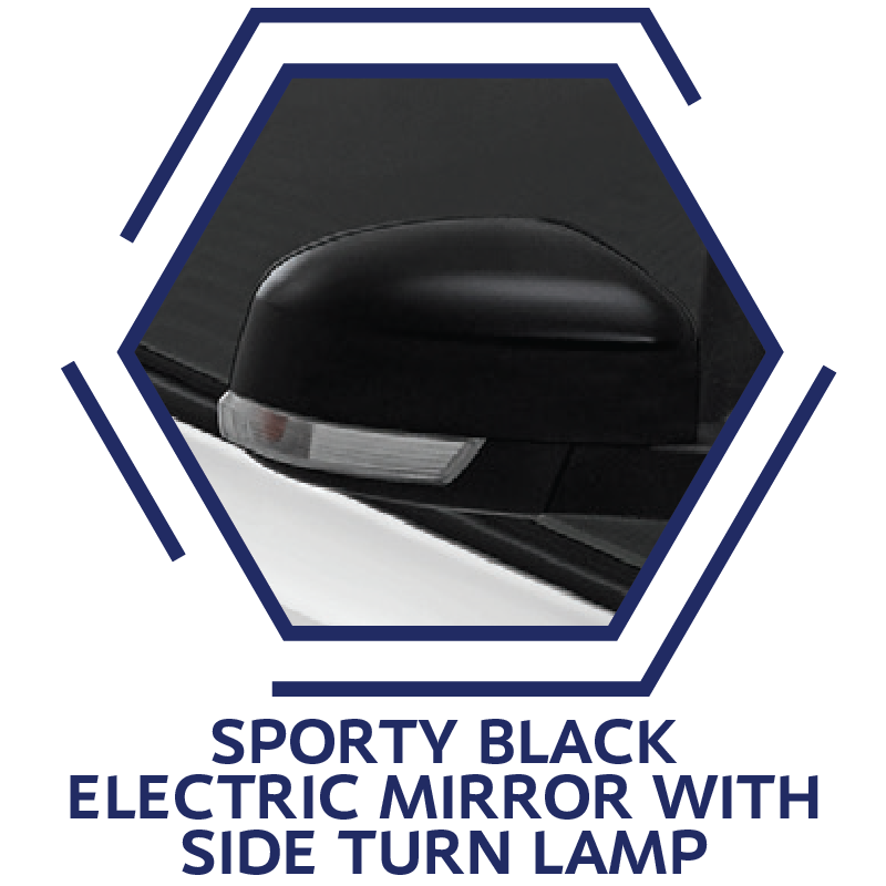 Sporty Black Electric Mirror with Side Turn Lamp