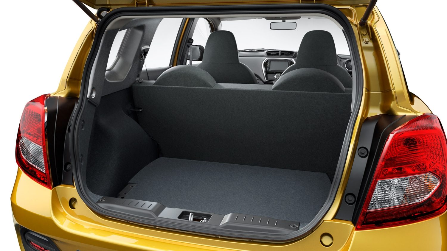 Datsun Cross trunk open with 3rd row down and no cargo