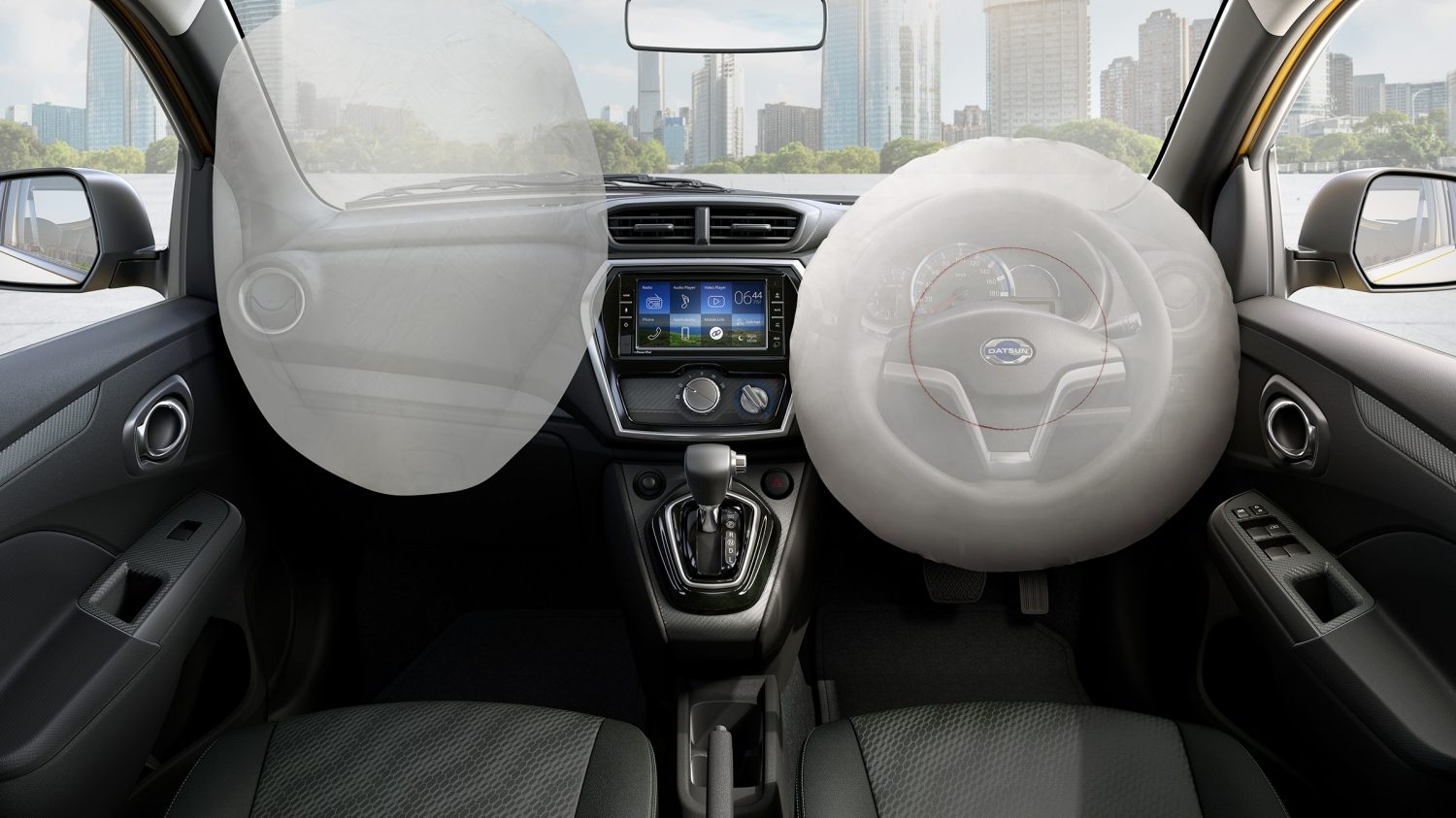 Datsun Cross interior with airbags deployed
