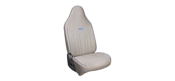 Seat Cover Fabric Beige + Blue Piping
