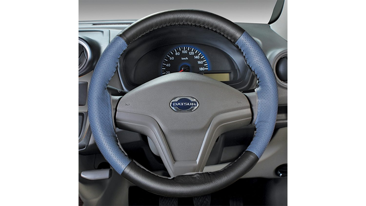 Leather Steering wheel cover (Blue + Black)