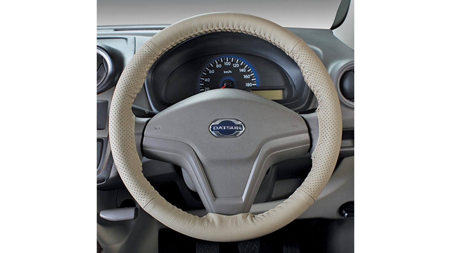 Leather Steering wheel cover (Complete Beige)